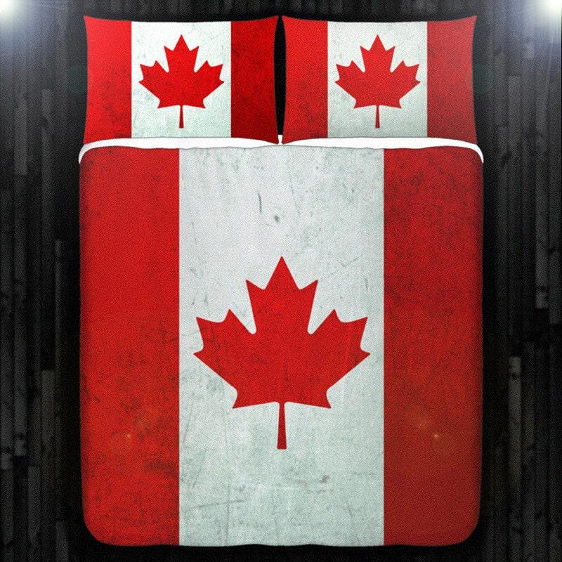 Feuille d 39 rable rouge drapeau canada couette couvrir for Drap housse traduction