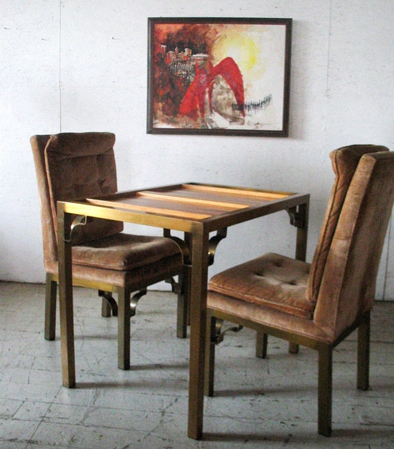 Vintage baker furniture mastercraft brass wood by groovygirl60 for Contemporary game table and chairs