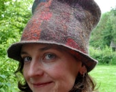 Felted Top Hat - Multicoloured Nuno Felt Patchwork Seamless Hat - wool and silk