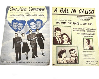 1940s Sheet Music Two Pieces - A Gal in Calico and One More Time - Mid Century Film Home Decor Paper Ephemera - Film Movie Blue Green 1940s