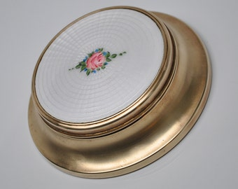 Vintage Gulloché Enamel and Brass Trinket Box White with Pink Rose