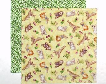 Easter Napkin, Kids Cloth Napkin, Lunch Napkin, Bunny Napkin, 1 double sided fabric napkin