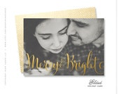 "christmas photo card, holiday card, hand lettered, gold - ""Gilded"""