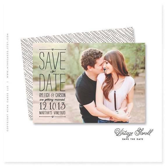 "save-the-date photo card - ""Vintage Scroll"""