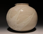 Moon Vase, White Sphere Wabi Sabi Ikebana Vessel with Crackle Slip Drips, Ceramic Orb Jar
