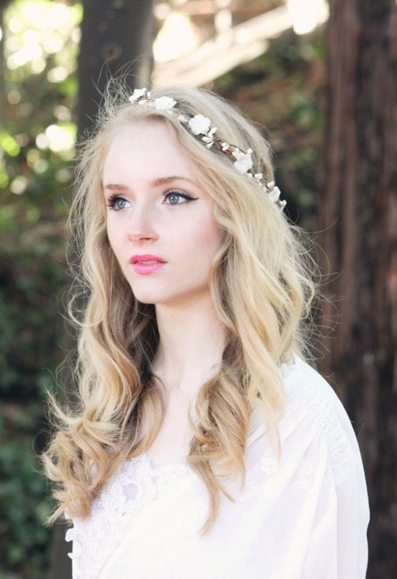 Bridal Flower Crown Ivory Flower Head Piece Wedding Wreath