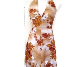 Vintage 70s hawaiian halter dress, maxi empire dress, Hukilau,  Small
