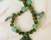 Green Octopus Necklace with Artisan Pendant and green and Aqua Recycled Glass Beads Undersea Theme - CatchingWaves