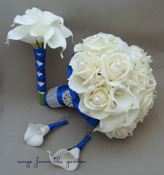 Items Similar To Bridal Bouquet Stephanotis Roses Calla