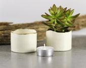 Yellow Gold line Ceramic White Planter, flower pot container minimal succulent mini desk pottery plant holder gift home decor, ooak
