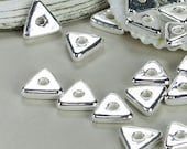 SHOP SALE - 12 Silver Mykonos Greek Beads, Ceramic Triangle Geometric 10mm washer spacer, Jewelry Craft Supplies, Sewing, Knitting  DIY