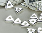 SHOP SALE - 10 Silver Mykonos Greek Beads, Ceramic Triangle Geometric 10mm washer spacer, Jewelry Craft Supplies, Sewing, Knitting  DIY