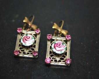 Shabby chic mixed media vintage Guilloche rosebud dangle bow earrings