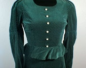 Emerald green velvet and mini white Polka dot peplum dress