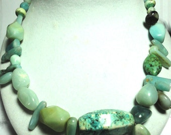 Amazonite Necklace Amazonite and Turquoise Asymmetrical Bead Necklace with Sterling