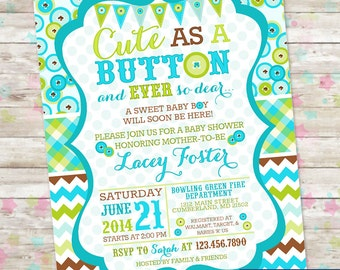 Cute as a Button, Baby Shower Invite, Baby Boy, Boy Baby Shower Invitation, blue and green, invite with chevron and plaid, Buttons