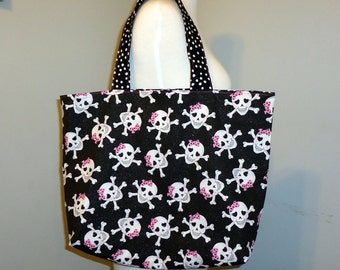Skull and Crossbones Cute Tote Bag - Halloween trick or treat candy bag