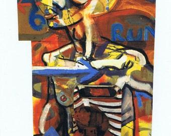 Run there is no tomorrow modge podge original print painting