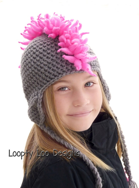 Crochet Hat with Mohawk Mohawk Hat Photo Prop Earflap Hat