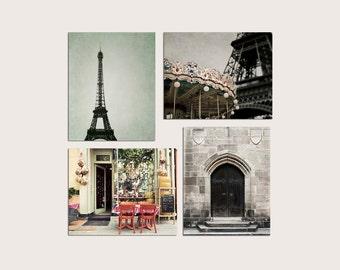 SALE, Paris Prints, Neutral, Brown, Mint, Beige, Kitchen Wall Art, Rustic, Paris Photography Set of 4 Prints