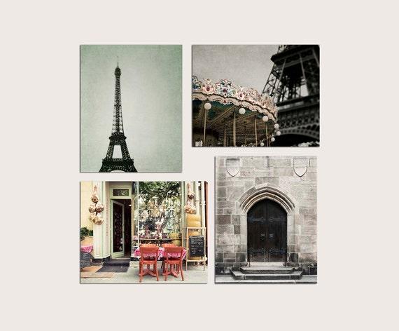 SALE, Paris Prints, Kitchen Wall Art, Neutral Brown Art, Mint Beige Prints, Rustic Paris Photography Set of 4 Prints Paris, Save 50%