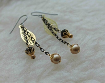 Your Metal Choice: Niobium, Titanium, Surgical Steel - Black and Gold - Hypoallergenic Earrings for Sensitive Ears