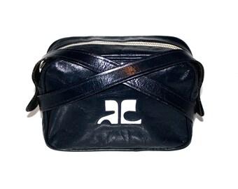COURREGES Vintage Handbag Iconic MOD Black Patent Logo Tote - AUTHENTIC -