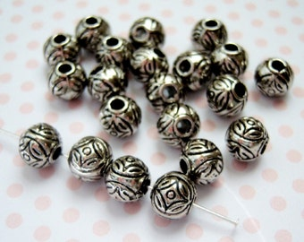 Antique silver plated carved floral 8mm round bead  lot of (18) beads - YH72