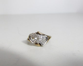 Vintage Ring: 10k Yellow and White Gold Linked Hearts