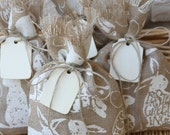 Burlap Gift Bags or Treat Bags, Set of Four, Natural Wood Tag, Easter, Shabby Chic Gift Wrapping, Jute Twine Tie, Off-White and Natural