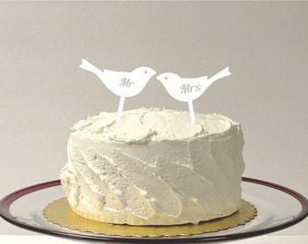Mr and Mrs LOVE BIRDS Wedding Cake Topper Cake Decoration Cake Topper Acrylic Wedding Topper Classic Cake Topper Wedding Keepsake