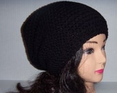 Black Crochet Hat, Mens Accessories, Black Slouchy Beanie, Womens Accessories, Winter Accessories