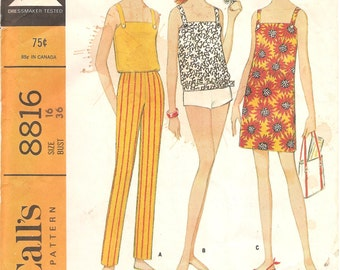 1960s Easy Sundress Camisole Shorts Pants - Vintage Pattern McCalls 8816 - Multiple Sizes