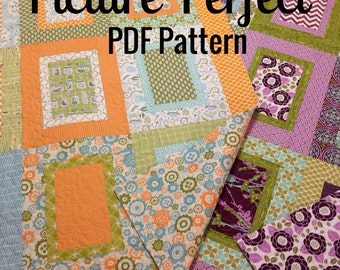 PATTERN Picture Perfect Quilt ...easy, uses fat quarters -- multiple sizes -- PDF version