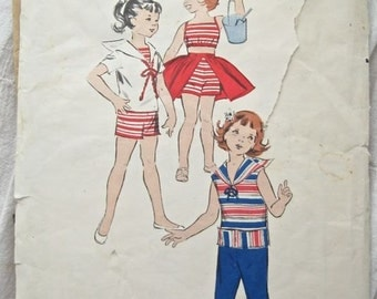 Butterick 8617 Girls 1960s Playsuit Top and Pants Vintage Summer Sewing Pattern Size 2