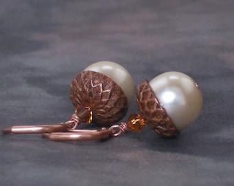 Earrings Ivory Pearl Swarovski Crystal Artisan Copper Acorn Earrings, White Acorn Earrings, Woodland Wedding Earrings