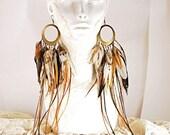 Breakthrough - Long Goddess Feather Hoop Earrings - Earthy Brown, Black, Green and Ivory