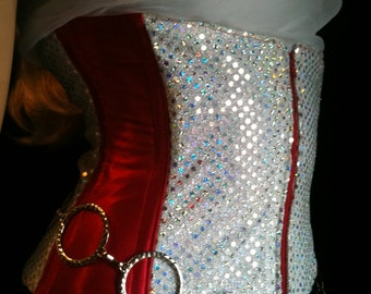 Red Satin and Sparkly Sequin Underbust Corset with Zippered Front - 25 to 27 inch waist - READY TO SHIP