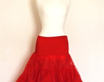 Red Scarlet Tulle Petticoat - Full Fifties Style - Underskirt - Prom - Full Petticoat - Party