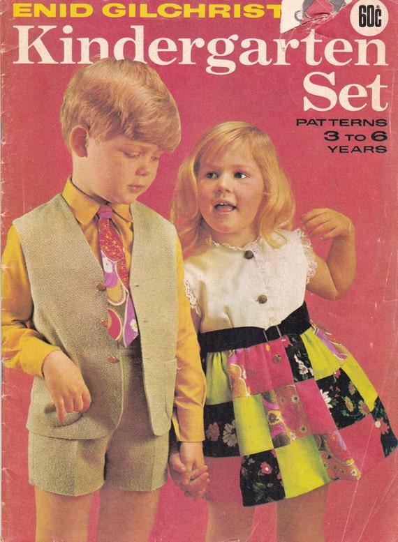 Enid Gilchrist Childrens Sewing Pattern Drafting Book 3 - 6 Years  Original Vintage Patterns KINDERGARTEN SET 1960s 70s