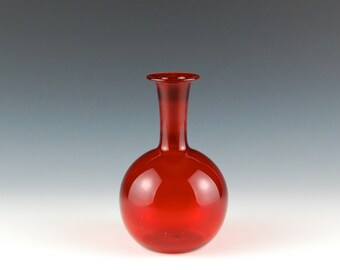 Red Vase, Hand Blown Glass