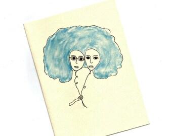 Balloon Sisters Art Card.Blank Card.Art Card.4x6 Print.SketchPaper Goods.Glasses.Eyewear.Optometrist.Eye Doctor.by Yvonne4eyes