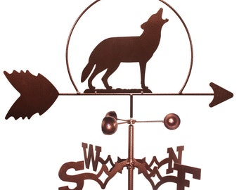 Hand Made Wolf Howling At The Moon Weathervane NEW