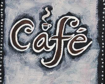 Cafe 5x5 mini acrylic painting on canvas