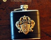 Flask - brass crest on black leather