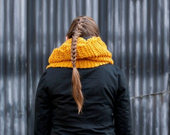 Chunky circle scarf snood mustard yellow hand knit  infinity scarf super soft wrap around scarf