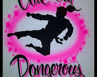 Airbrush Cute But Dangerous Karate Girl Personalized w/ Name size S M L XL 2X Shirt Airbrushed T-Shirt