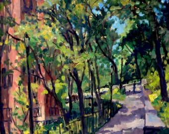 The Isham Park Alley, Inwood. New York City Oil Painting, Oil on Panel, 14x18 Impressionist Plein Air Fine Art, Signed Original NYC Artwork