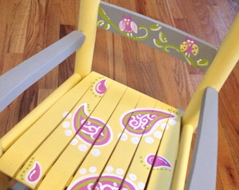 Girls rocking chair - yellow gray - paisleys and birds - childs rocking chair