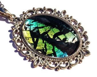 Handmade necklace Real moth wing necklace Black jewelry Blue green pendant Art deco necklace Silver filigree necklace Large pendant necklace